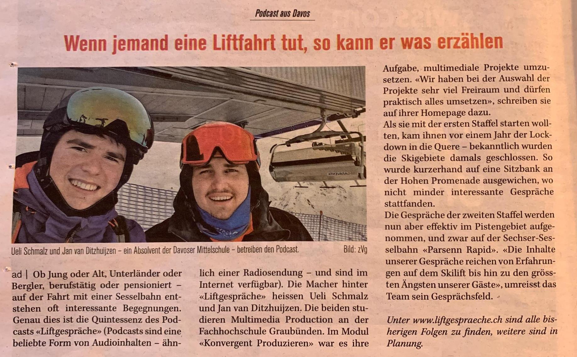 Artikel über «Liftgespräche» in der Davoserzeitung