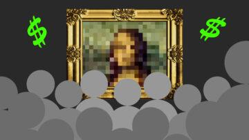 Illustration einer verpixelten Mona Lisa im goldenen Rahmen vor einem Publikum